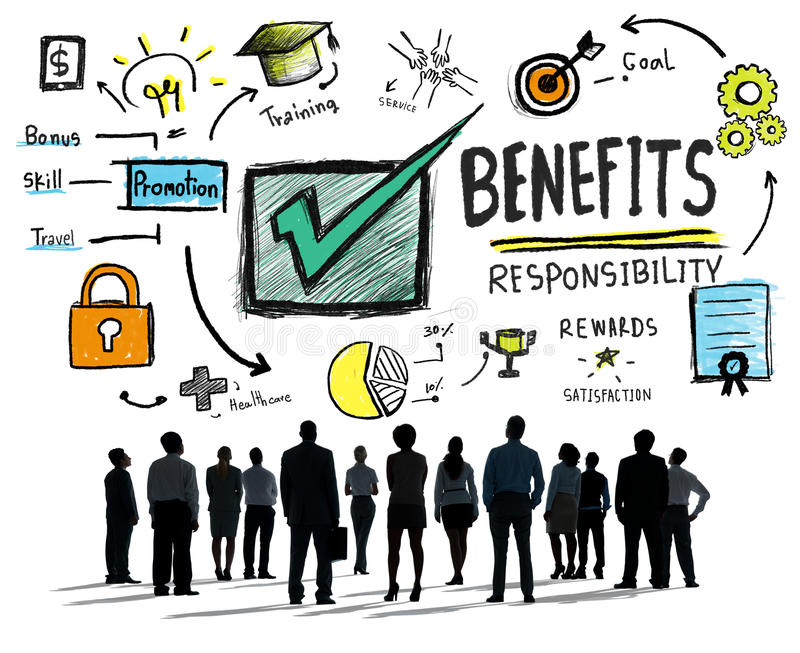 Conceito da aspiração do negócio da renda do salário do lucro do ganho dos benefícios ilustração stock