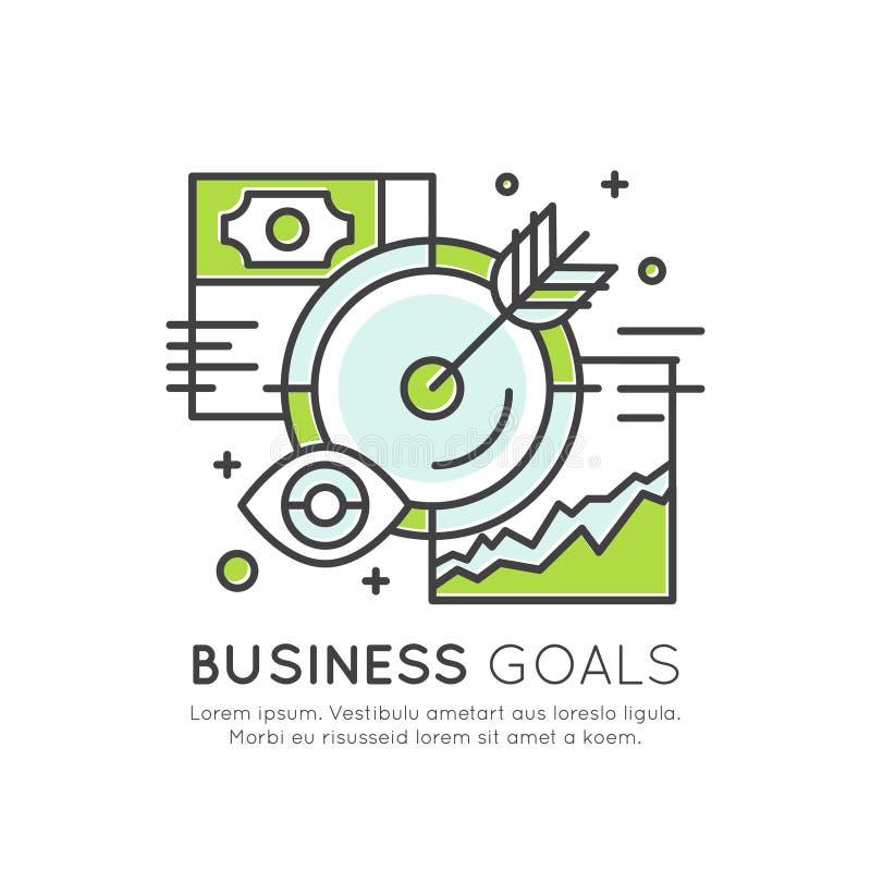 Conceito da aspiração, planeamento, objetivo, estratégia da visão do negócio ilustração stock