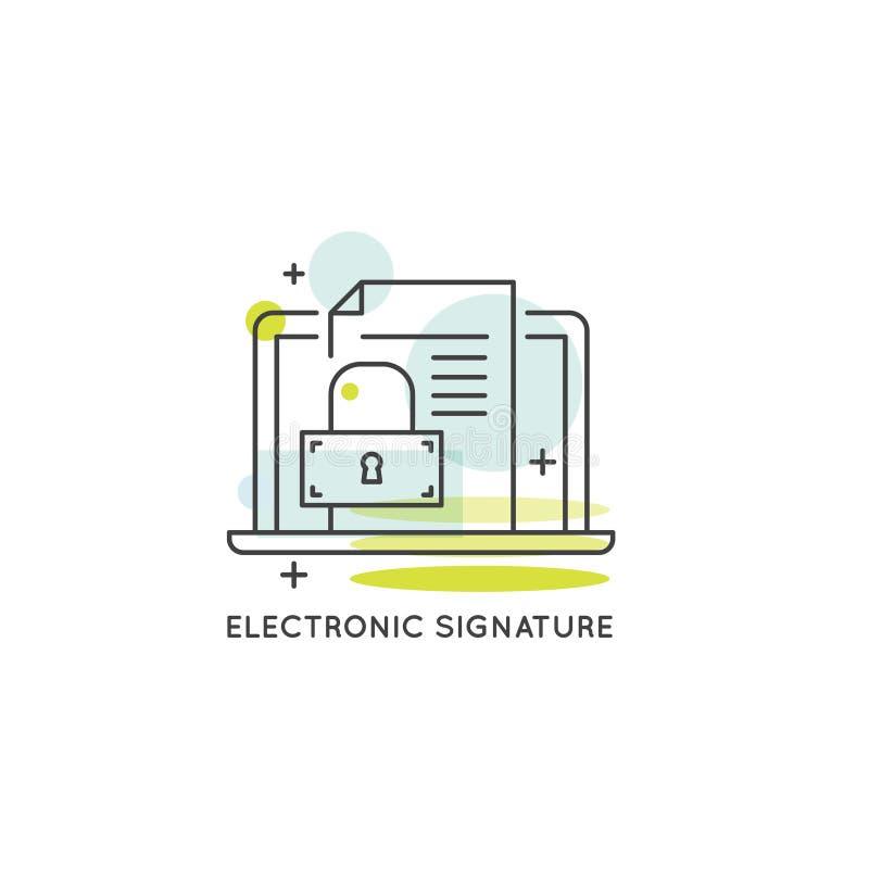Conceito da assinatura eletrônica, proteção de dados, serviço App ilustração royalty free