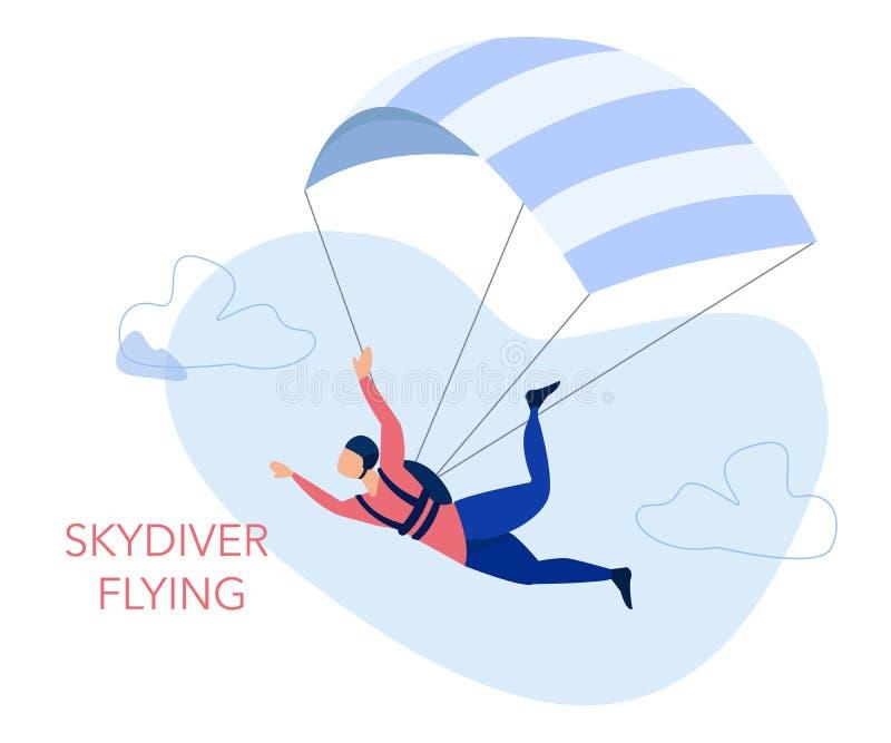 Conceito da atividade saltar em queda livre e de lazer Voo do Skydiver com um paraquedas Ilustração do vetor ilustração royalty free