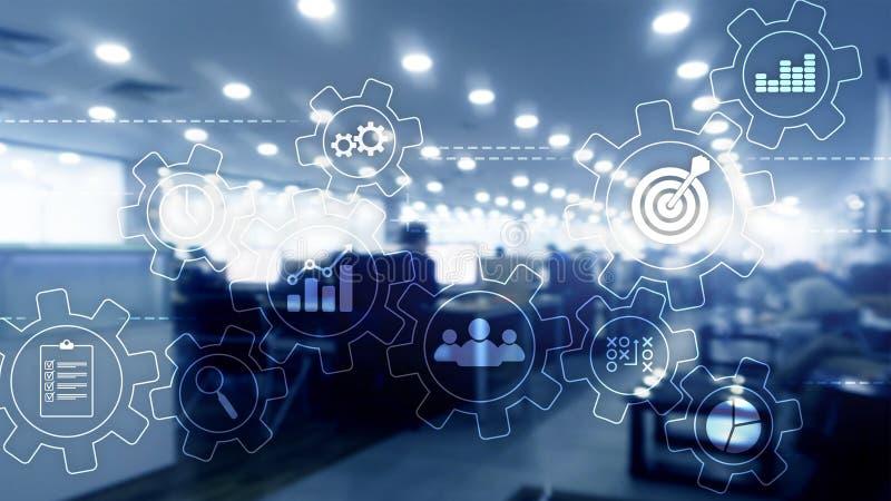 Conceito da automatização de processo de negócios Engrenagens e ícones no fundo abstrato ilustração do vetor