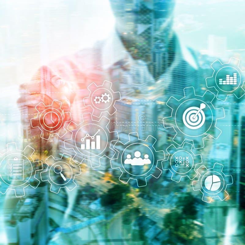 Conceito da automatização de processo de negócios Engrenagens e ícones no fundo abstrato foto de stock