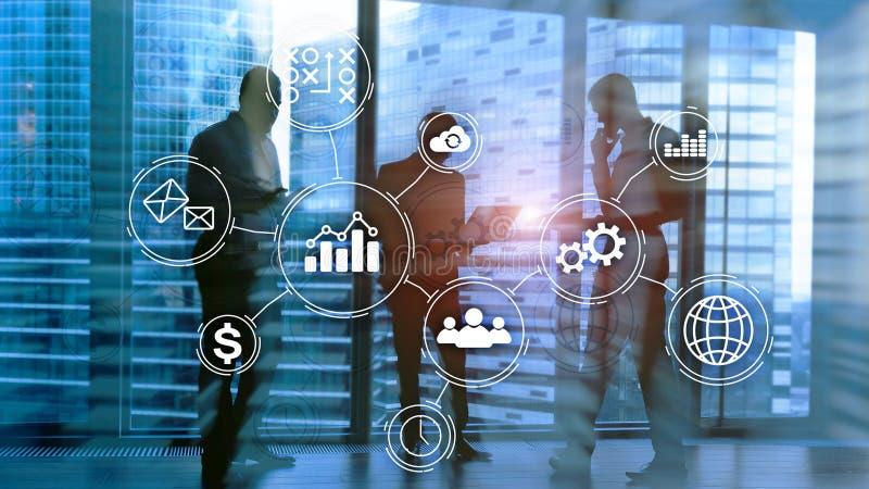 Conceito da automatização de processo de negócios no fundo borrado imagem de stock