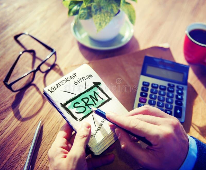 Conceito da avaliação de SRM da gestão do relacionamento do fornecedor imagens de stock royalty free