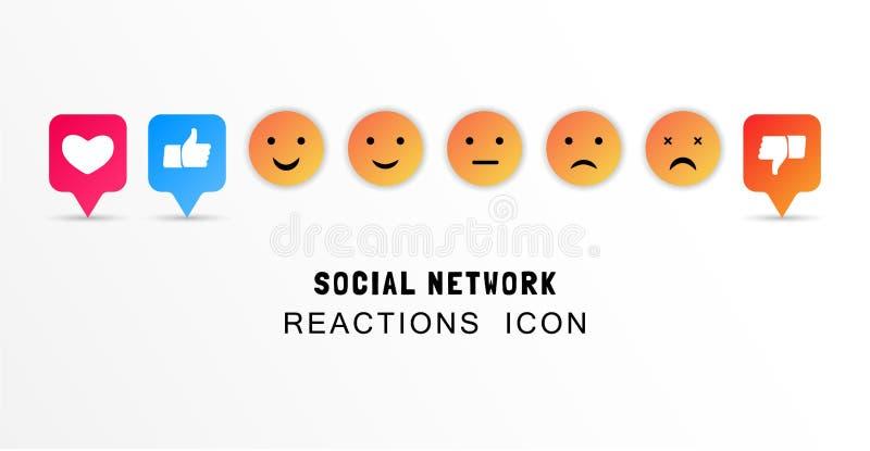 Conceito da avaliação do feedback de cliente Cara, gosto, coração e polegar do smiley acima dos ícones Ícones da emoção Sorriso a ilustração do vetor