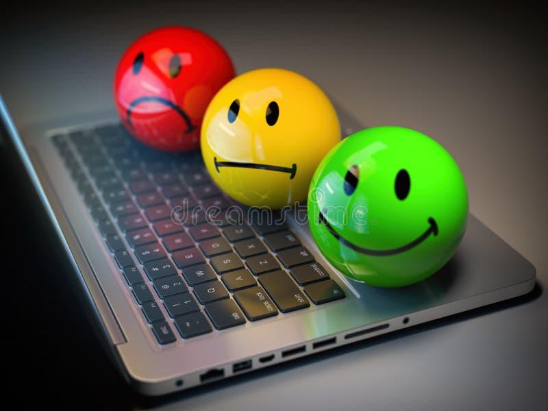 Conceito da avaliação do feedback da satisfação do cliente h Emoticons coloridos do sorriso no teclado do portátil ilustração do vetor