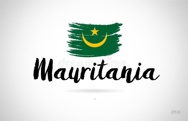 conceito da bandeira de país de Mauritânia com logotipo do ícone do projeto do grunge ilustração stock