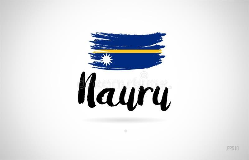 conceito da bandeira de país de nauru com logotipo do ícone do projeto do grunge ilustração stock
