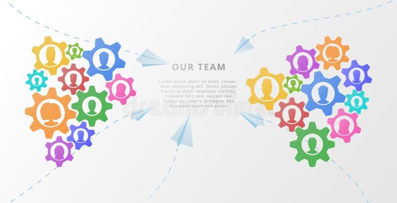 Conceito da bandeira dos trabalhos de equipe com avatars do ícone das engrenagens e dos povos Ilustração lisa do vetor para a par ilustração royalty free