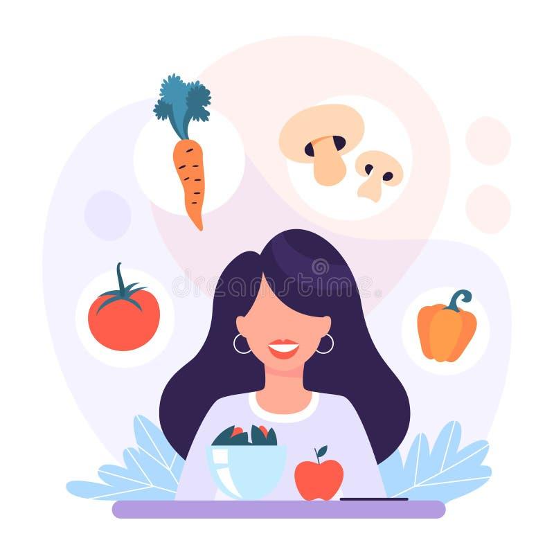 Conceito da bandeira da Web da dieta A mulher come o alimento saudável ilustração royalty free