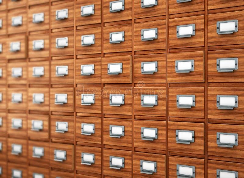 Conceito da base de dados armário do vintage cartão de biblioteca ou catálogo do arquivo imagem de stock royalty free