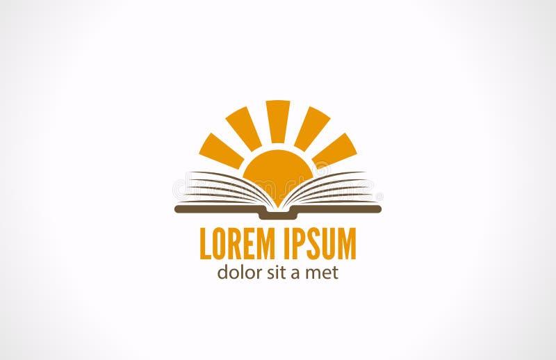 Conceito da biblioteca da e-leitura do conhecimento. Logo Sun sobre ilustração stock