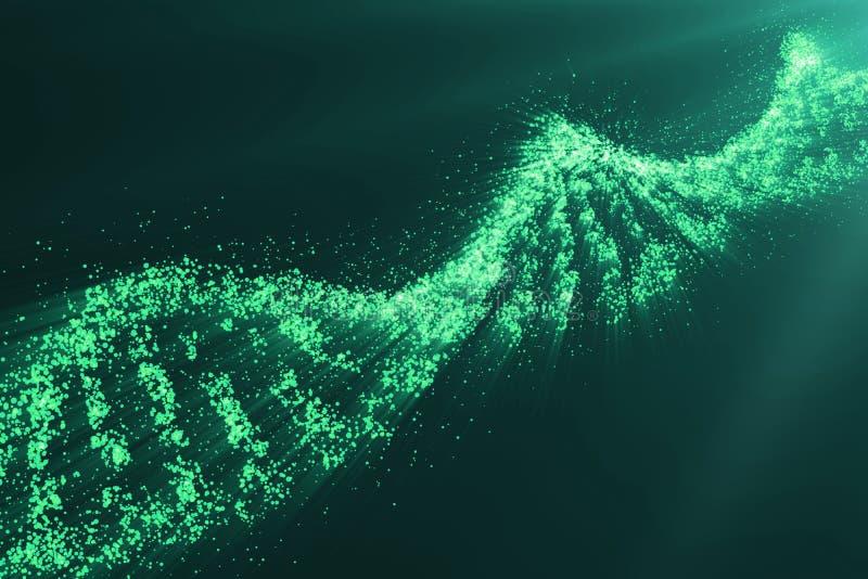 Conceito da bioquímica com a molécula do ADN no fundo verde, conceito científico da genética, matiz verde 3d ilustração do vetor