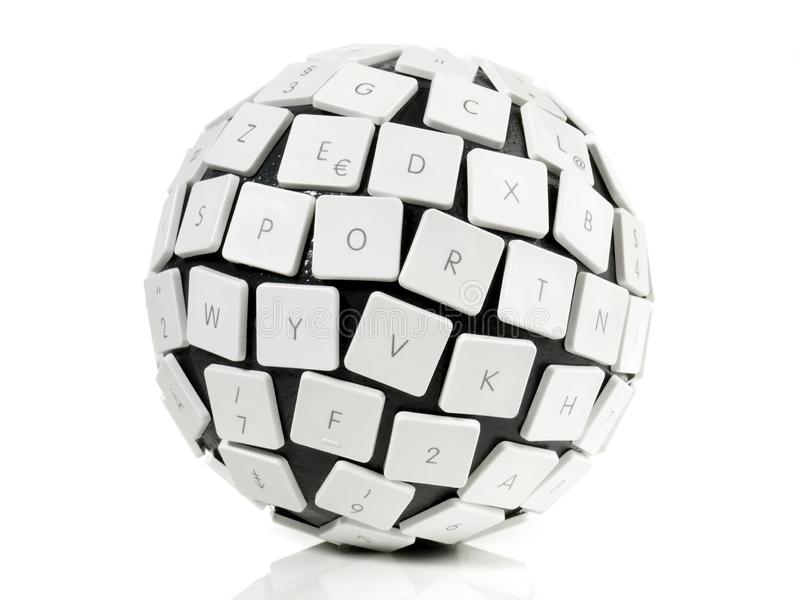 Conceito da bola do teclado fotografia de stock royalty free