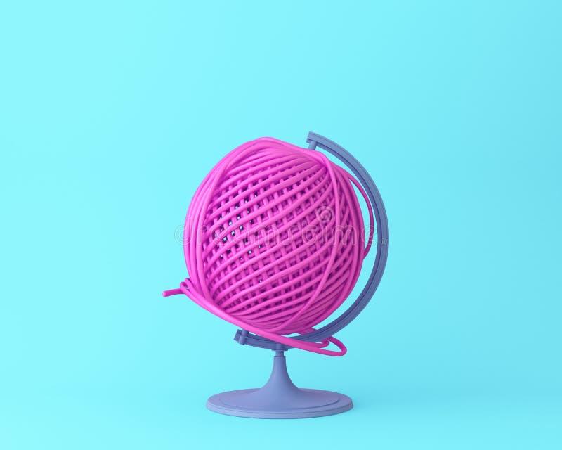 Conceito da bola da linha do rosa da esfera da esfera do globo no azul pastel ilustração do vetor