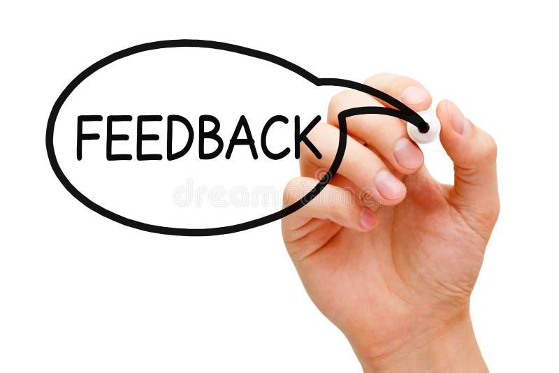 Conceito da bolha do discurso do feedback foto de stock