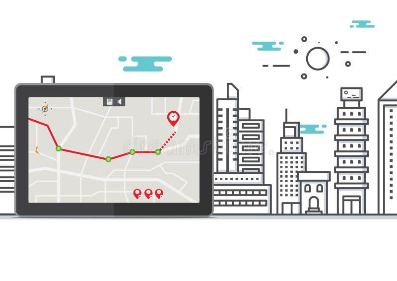 Conceito da busca do mapa da arquitetura da cidade do vetor, tabuleta do computador da aplicação do curso do lugar dos gps ilustração royalty free
