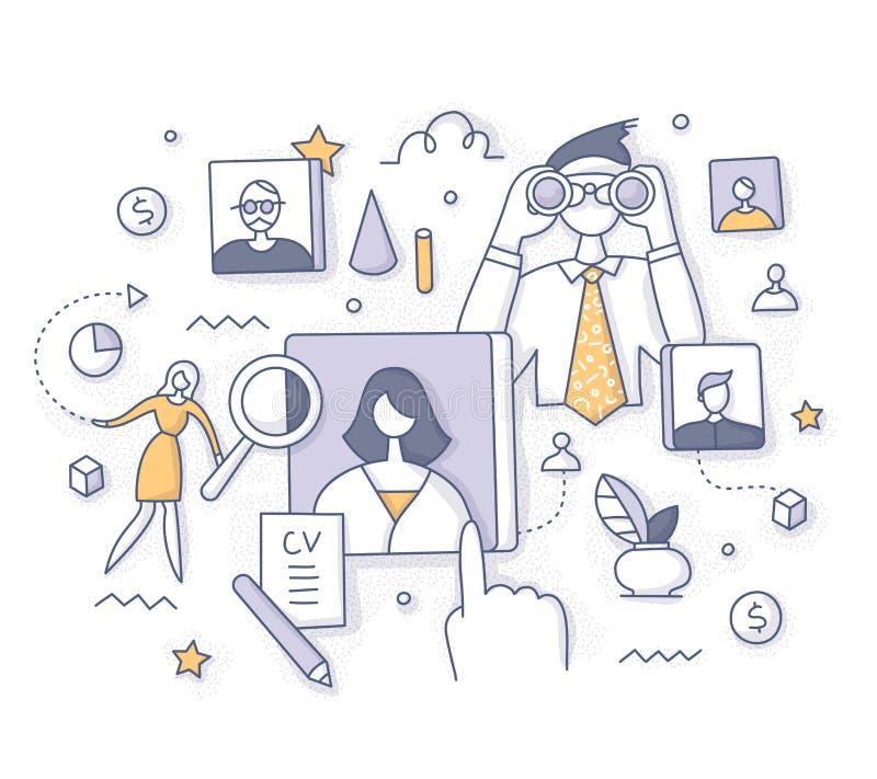 Conceito da busca do recrutamento e do empregado ilustração do vetor