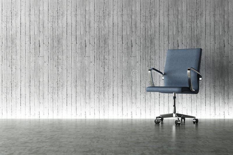 Conceito da cadeira e do muro de cimento do escritório ilustração do vetor