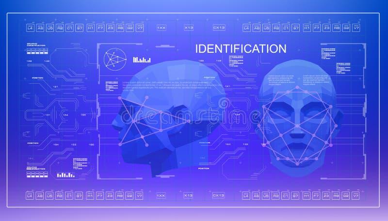 Conceito da cara que faz a varredura da tecnologia biométrica do reconhecimento facial exato baixa exploração poli da cara 3D, re ilustração do vetor
