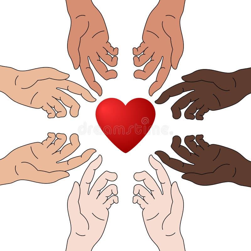 Conceito da caridade e da doação As mãos dão o amor Igualdade da raça Todos merece o amor Dê e compartilhe de seu amor aos povos ilustração royalty free