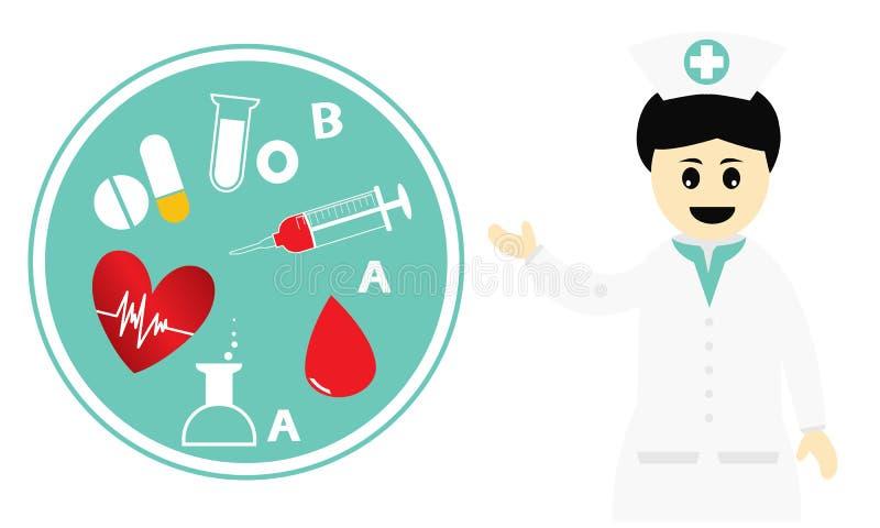 Conceito da caridade para a doação de sangue ilustração royalty free