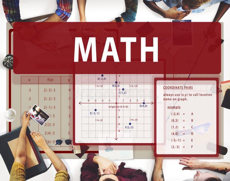 Conceito da carta do cálculo da matemática da matemática imagem de stock