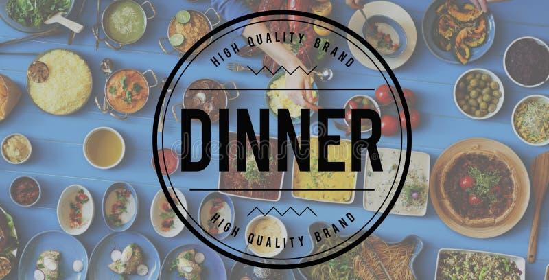 Conceito da celebração comer do alimento do partido de jantar fotos de stock royalty free