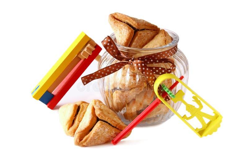 Conceito da celebração de Purim (feriado judaico do carnaval) Foco seletivo imagem de stock