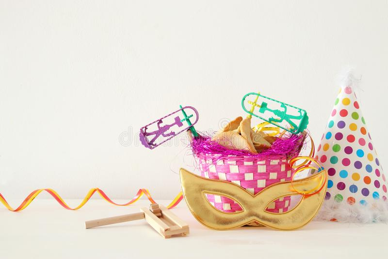 Conceito da celebração de Purim & x28; holiday& judaico x29 do carnaval; imagens de stock