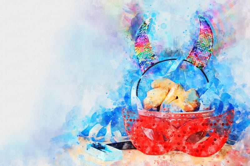 Conceito da celebração de Purim & x28; holiday& judaico x29 do carnaval; ilustração do vetor
