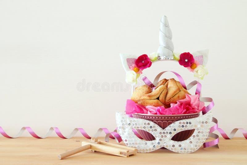Conceito da celebração de Purim & x28; holiday& judaico x29 do carnaval; foto de stock
