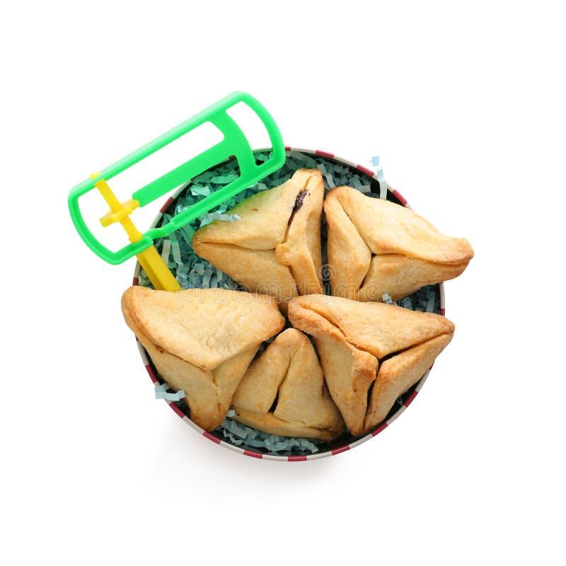 Conceito da celebração de Purim & x28; holiday& judaico x29 do carnaval; Cookies de Hamantaschen isoladas no branco foto de stock