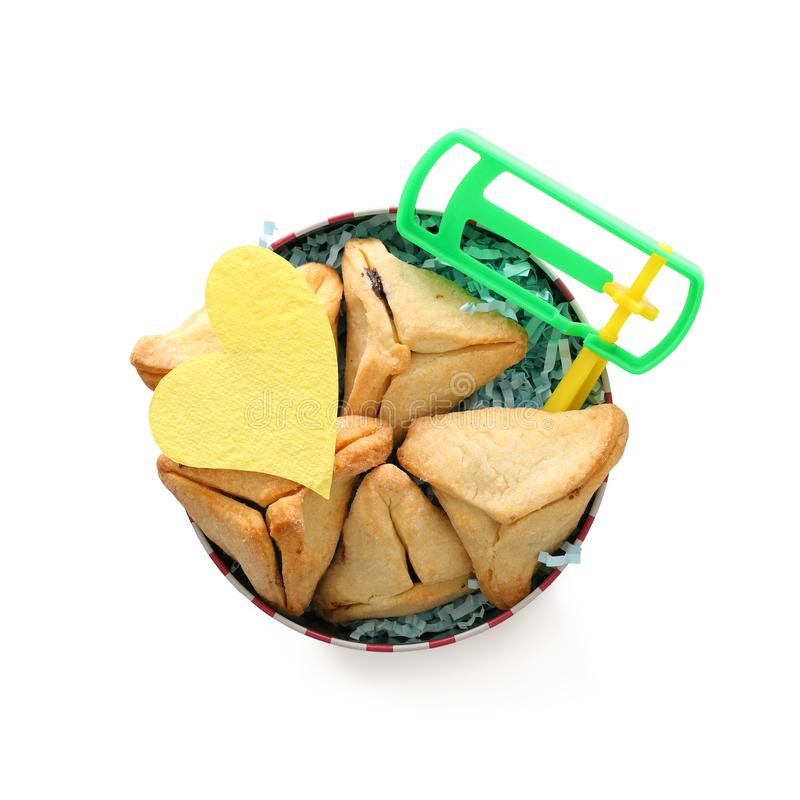 Conceito da celebração de Purim & x28; holiday& judaico x29 do carnaval; Cookies de Hamantaschen isoladas no branco imagem de stock royalty free