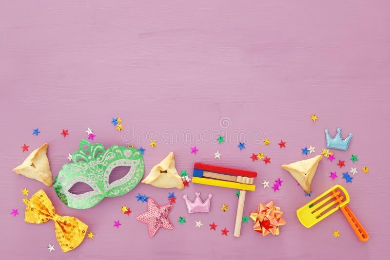 Conceito da celebração de Purim & x28; holiday& judaico x29 do carnaval; Vista superior imagem de stock royalty free