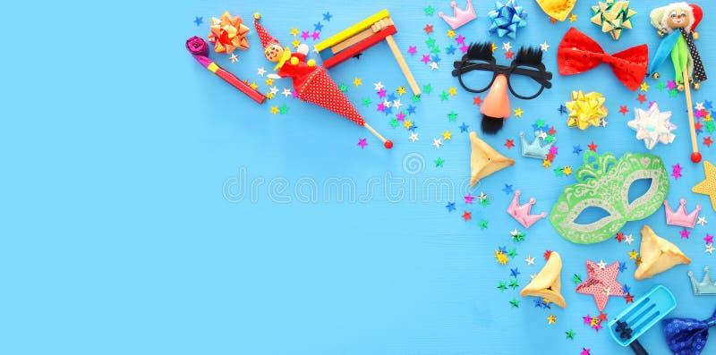 Conceito da celebração de Purim & x28; holiday& judaico x29 do carnaval; Vista superior imagens de stock