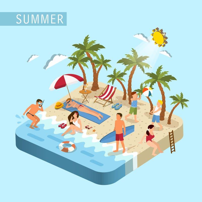Conceito da cena da praia do verão ilustração royalty free