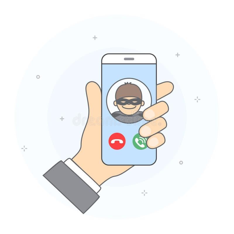 Conceito da chamada entrante de usuário desconhecido ilustração do vetor