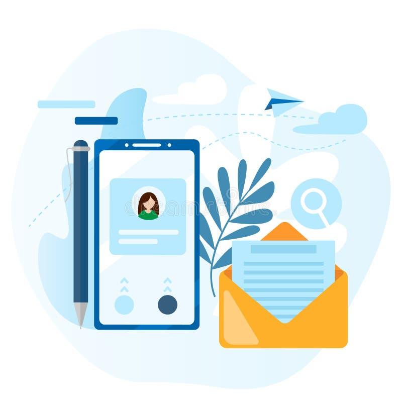 Conceito da chamada, lista de endereços, livro de nota Contate-nos ícone ícone do contato na tela do telefone celular Emita o ema ilustração do vetor