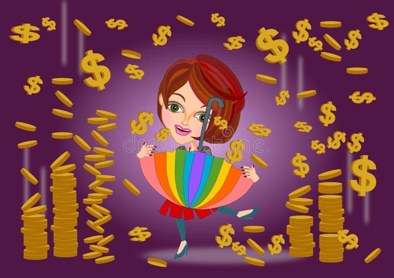 Conceito da chuva do dinheiro ilustração do vetor
