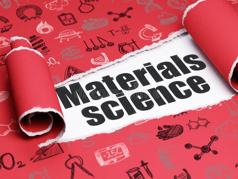 Conceito da ciência: ciência de materiais preta do texto sob a parte de papel rasgado ilustração royalty free