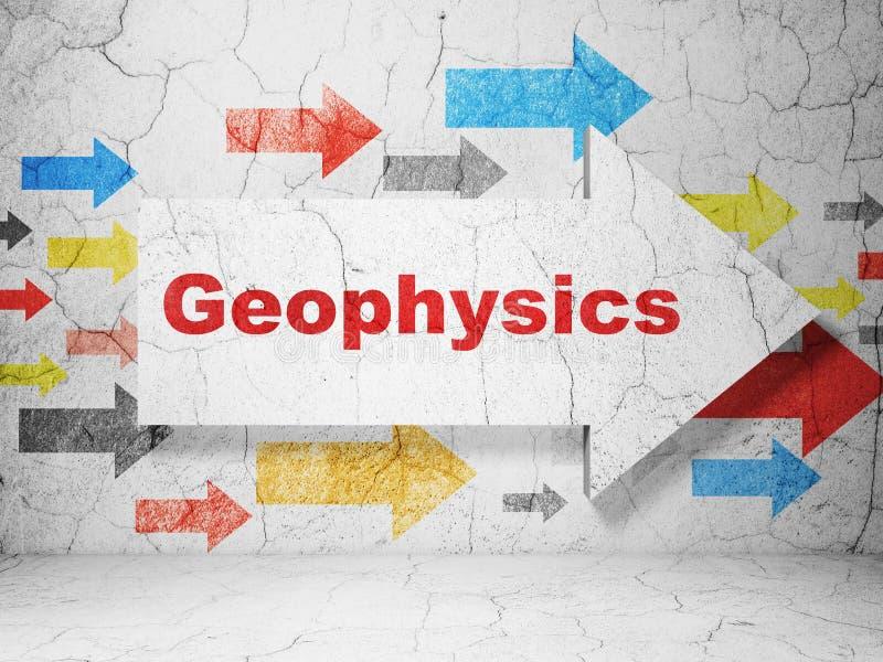 Conceito da ciência: seta com geofísica no fundo da parede do grunge ilustração royalty free