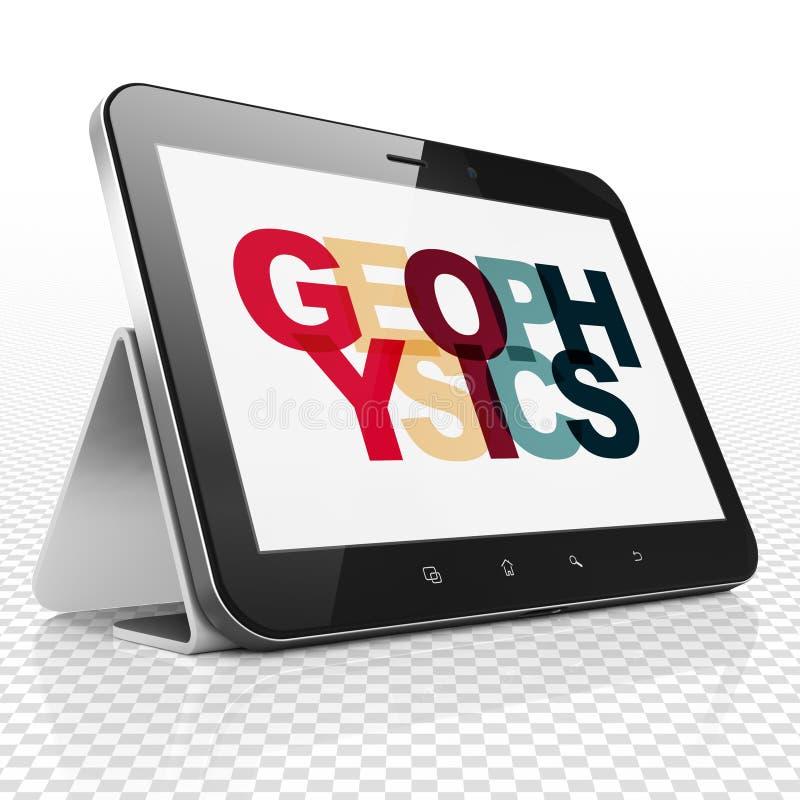 Conceito da ciência: Tablet pc com geofísica na exposição ilustração stock