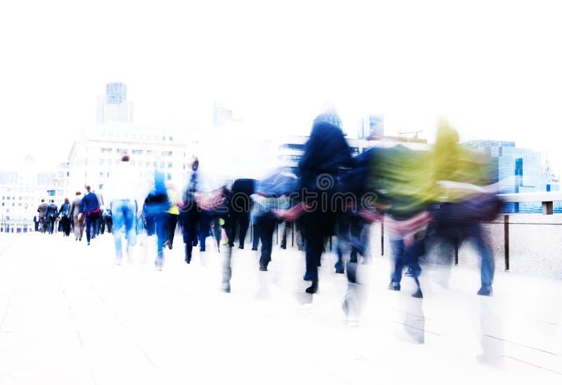 Conceito da cidade de Londres do trabalho de pressa dos povos imagens de stock royalty free