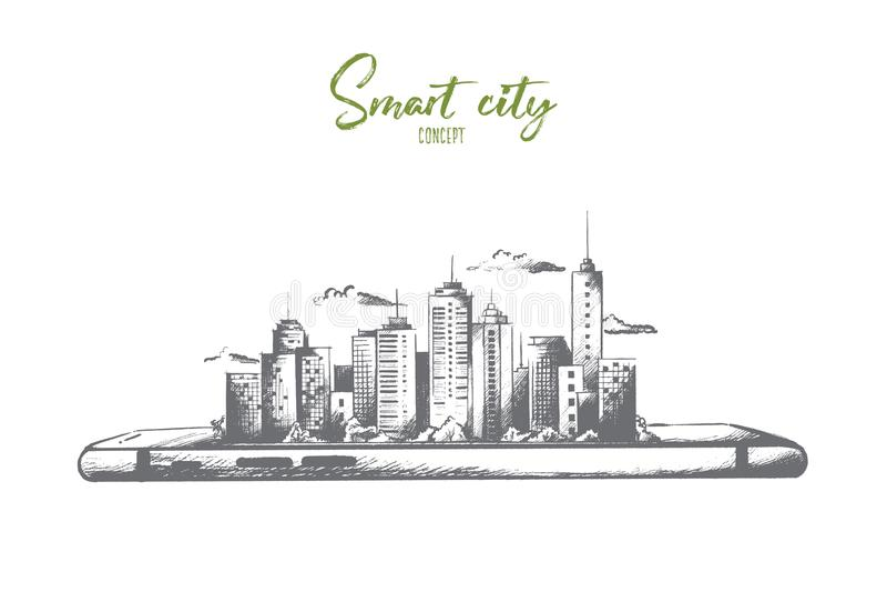 Conceito da cidade de Samart Vetor isolado tirado mão ilustração stock