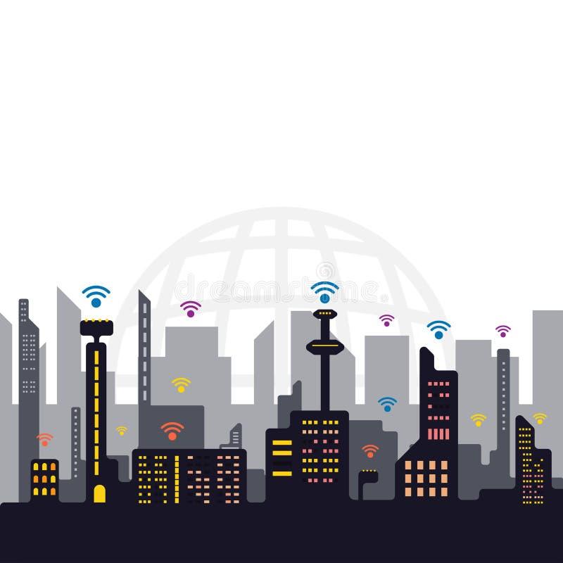 Conceito da cidade do sinal do Internet, vetor da tecnologia de comunicação da rede ilustração royalty free