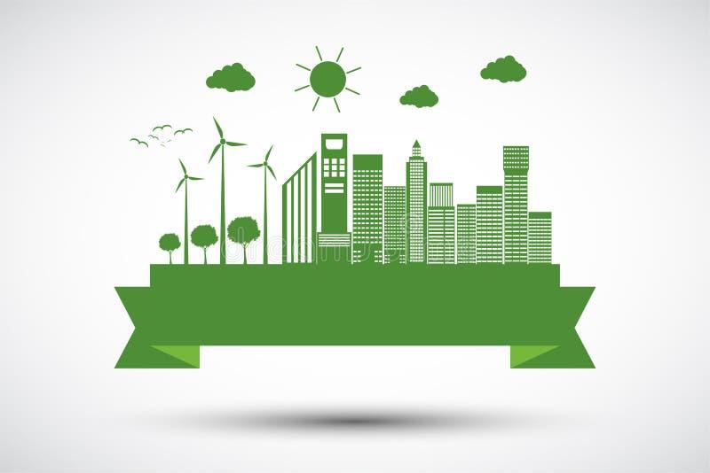 Conceito da cidade da ecologia e ambiente com ideias Eco-amigáveis, ilustração do vetor ilustração stock