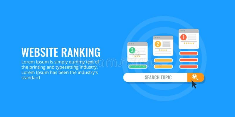 Conceito da classificação do Web site para a otimização do Search Engine Projeto liso da bandeira ilustração royalty free