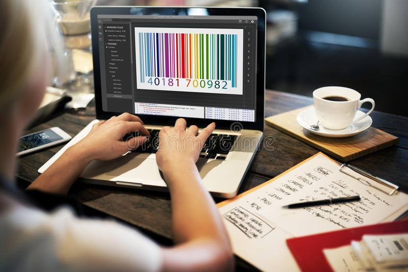 Conceito da codificação da relação da criptografia do código de barras imagens de stock