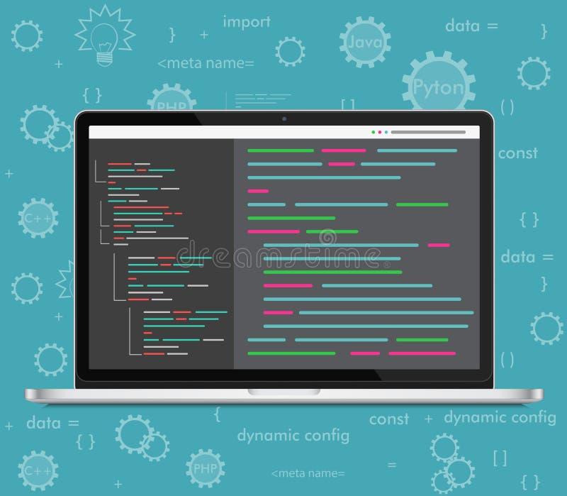 Conceito da codificação do portátil do vetor Programador web, projeto, programando Código de tela do portátil ilustração do vetor
